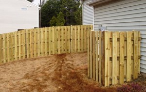 Wood Fence with Wood A/C Enclosure